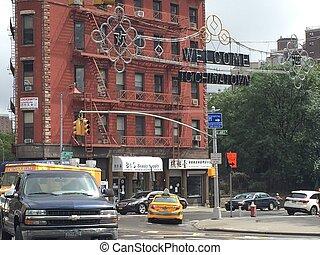 nouveau, chinatown, york, ville