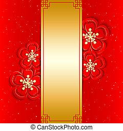 nouveau, chinois, carte voeux, année