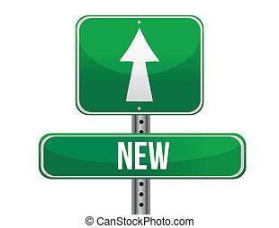 nouveau, conception, route, illustration, signe