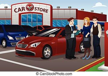 nouveau, couple, voiture achetante