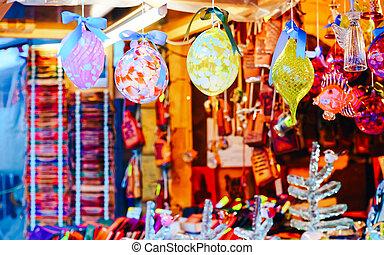 nouveau, décorations noël, affiché, arbre, marché, vente