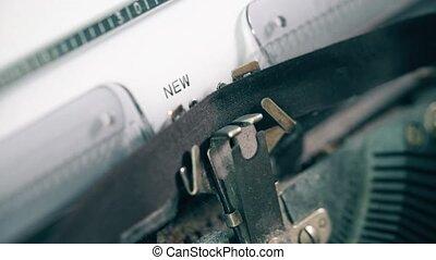 nouveau, dactylographie, vendange, mots, machine écrire, chapitre