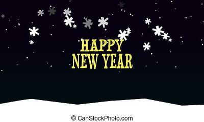 nouveau, fond, texte, année, heureux, animé, neige, closeup