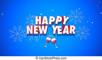 nouveau, fond, texte, année, heureux, bleu, animé, closeup