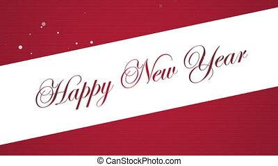 nouveau, fond, texte, année, heureux, rouges, animé, closeup