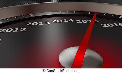 nouveau, heureux, 2020, compteur vitesse, année