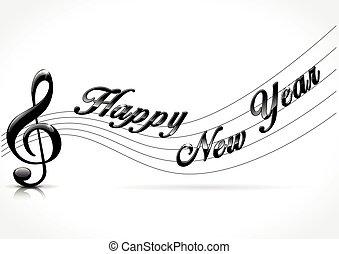 nouveau, heureux, musical, année