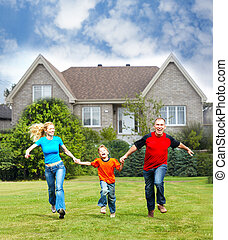 nouveau, house., famille, heureux