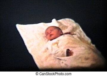 nouveau-né, -1962, dormir, vendange