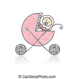nouveau né, conception, buggy, bébé, ton