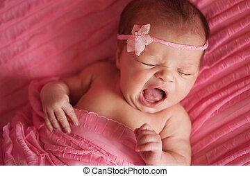 nouveau-né, girl, bâiller