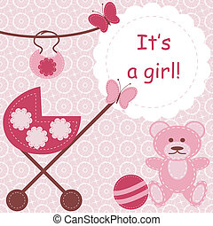 nouveau né, girl, carte voeux