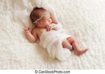 nouveau né, portrait, girl, angélique