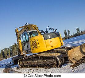 nouveau, neige, excavateur
