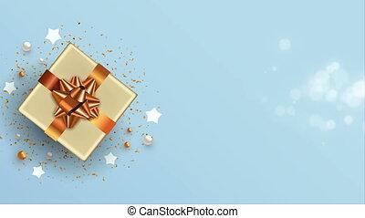 nouveau, noël carte, cadeau, vue, 3d, cuivre, sommet, année