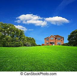 nouveau, paysage vert, maison
