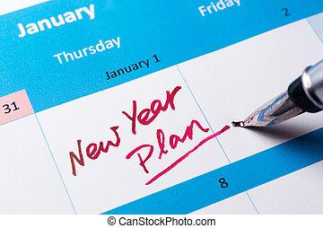 nouveau, plan, année