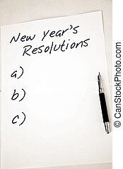 nouveau, resolutions, vide, année
