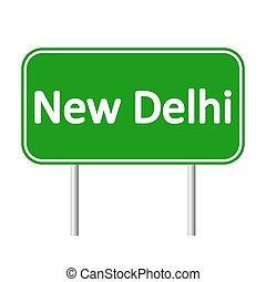 nouveau, signe., delhi, route