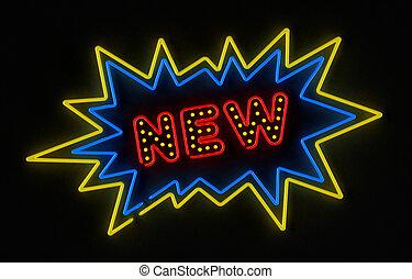 nouveau, signe néon