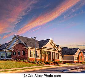 nouveau, sur, levers de soleil, maisons