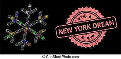 nouveau, timbre, éclat, york, cachet, rêve, flocon de neige, taches, réseau, gratté