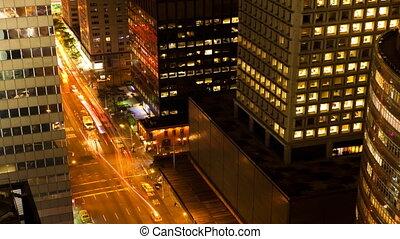 nouveau, trafic, york, nuit