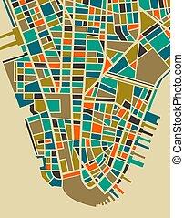 nouveau, ville, coloré, plan, york
