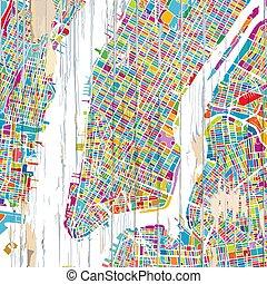 nouveau, ville, coloré, york, carte