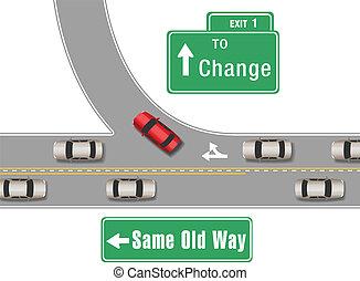 nouveau, voitures, vieux, changement, manière