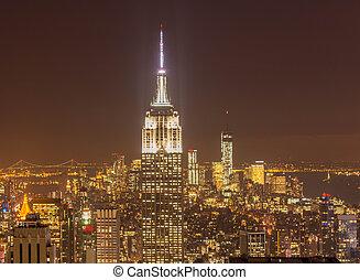 nouveau, vue, nuit, manhattan, york, coucher soleil, pendant