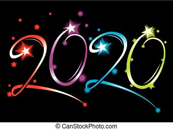 nouvel an, 2020, événement, grandiose