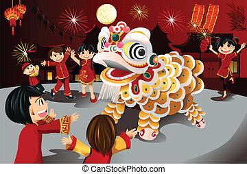 nouvel an, chinois, célébration