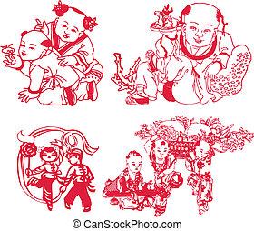 nouvel an, jouer, chinois, enfants