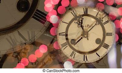 nouvelle année, fond, horloge