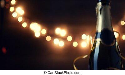nouvelle année, toast., champagne