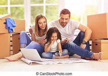 nouvelle maison, famille, leur, en mouvement