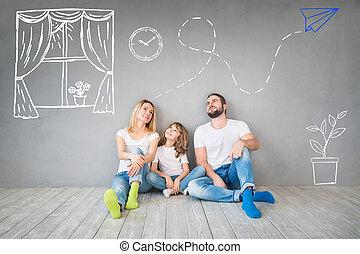 nouvelle maison, famille, maison, jour, concept, en mouvement