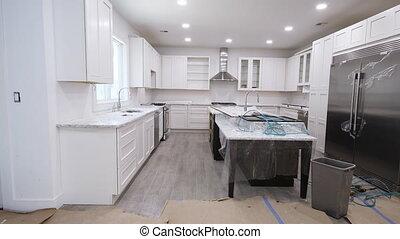 nouvelle maison, installed, vue, amélioration, cuisine, remodeler