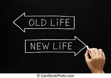 nouvelle vie, vieux, ou