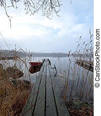 novembre, lac, matin