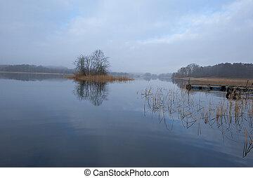 novembre, tranquille, lac, matin
