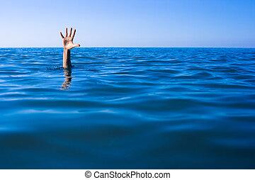 noyade, aide, needed., main, ocean., homme, ou, mer
