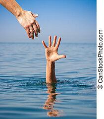 noyade, donner, main, portion, mer, homme