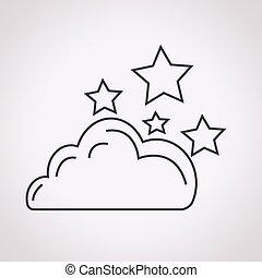 nuage, étoiles, icône