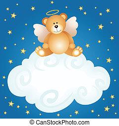 nuage, ange, ours peluche, bébé, backgro