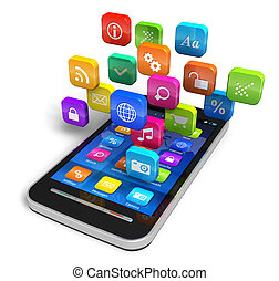 nuage, application, icônes, smartphone