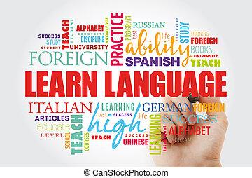 nuage, apprendre, langue, mot