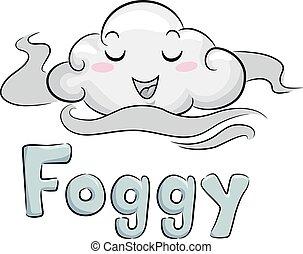 nuage, brumeux, illustration, mascotte