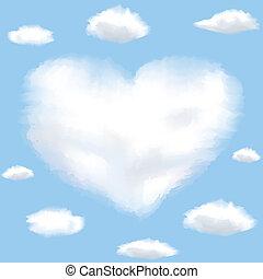 nuage, coeur, ciel, formé